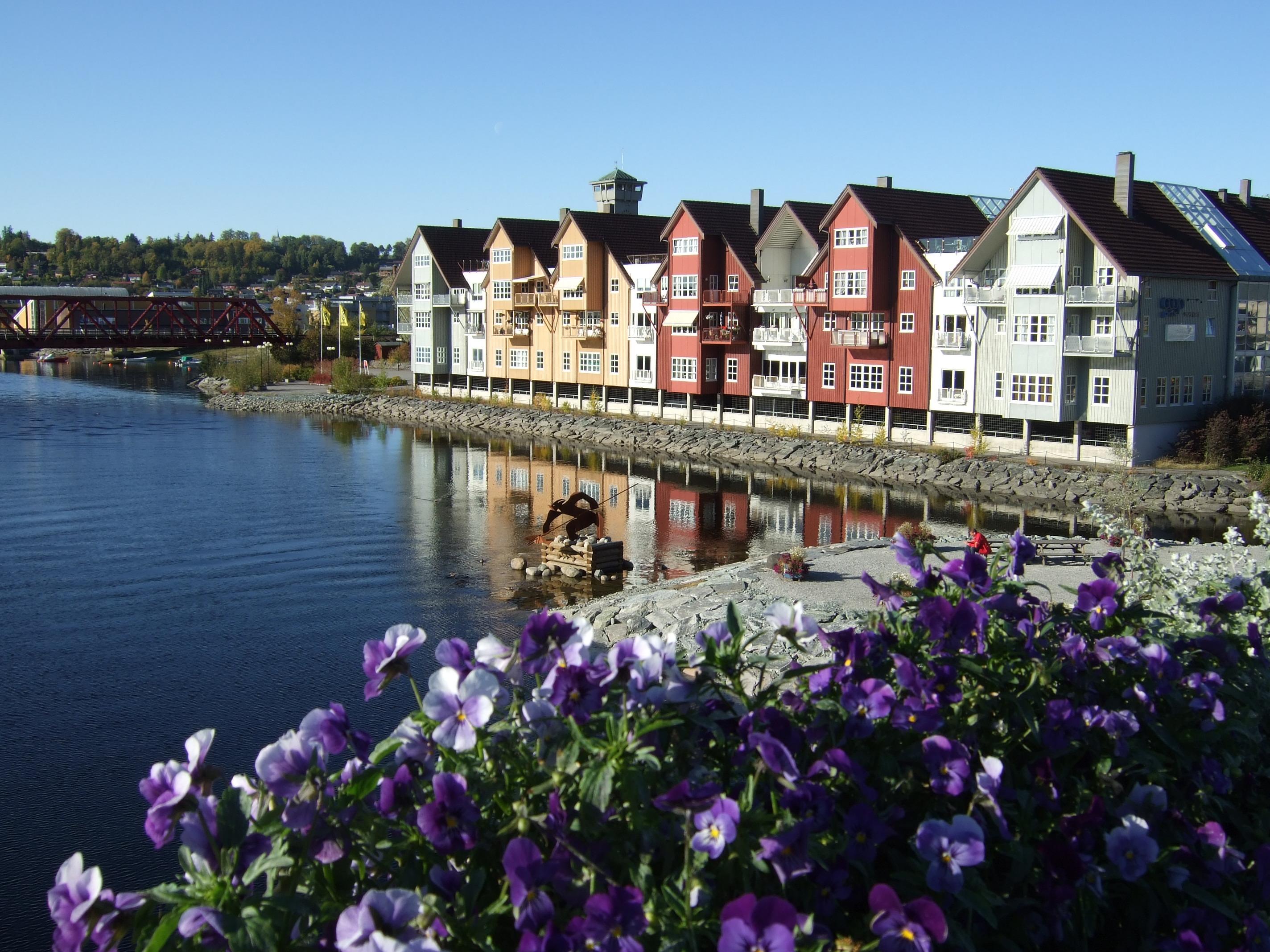 Blomsterflor ved Brygga i Steinkjer ved Ogna/Steinkjerelva